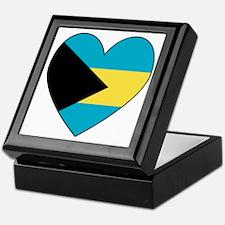 Bahamian Flag Heart Keepsake Box