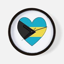 Bahamian Flag Heart Wall Clock