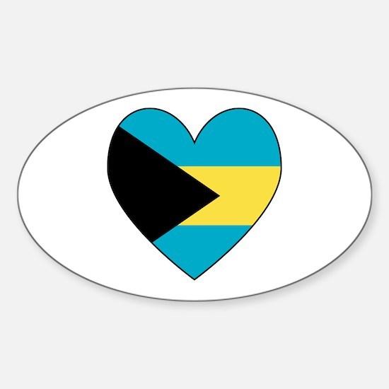 Bahamian Flag Heart Oval Decal