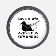 Adopt A Komondor Dog Wall Clock
