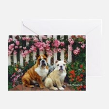 Rose Fence Bulldog Greeting Cards (Pk of 10)