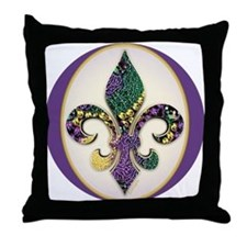 Fleur de lis Mardi Gras Beads Throw Pillow
