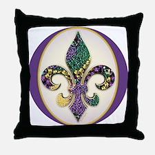 Fleur de lis Mardi Gras Beads Throw Pillow