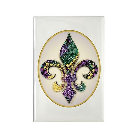 Fleur de lis Mardi Gras Beads Rectangle Magnet (10