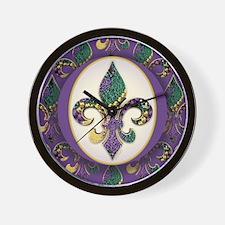 Fleur de lis Mardi Gras Beads Wall Clock