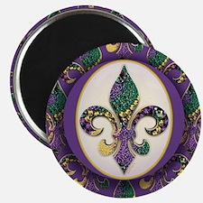 Fleur de lis Mardi Gras Beads Magnet