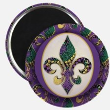 "Fleur de lis Mardi Gras Beads 2.25"" Magnet (100 pa"
