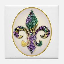 Fleur de lis Mardi Gras Beads Tile Coaster