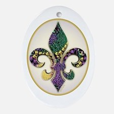 Fleur de lis Mardi Gras Beads Oval Ornament