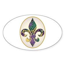 Fleur de lis Mardi Gras Beads Oval Decal