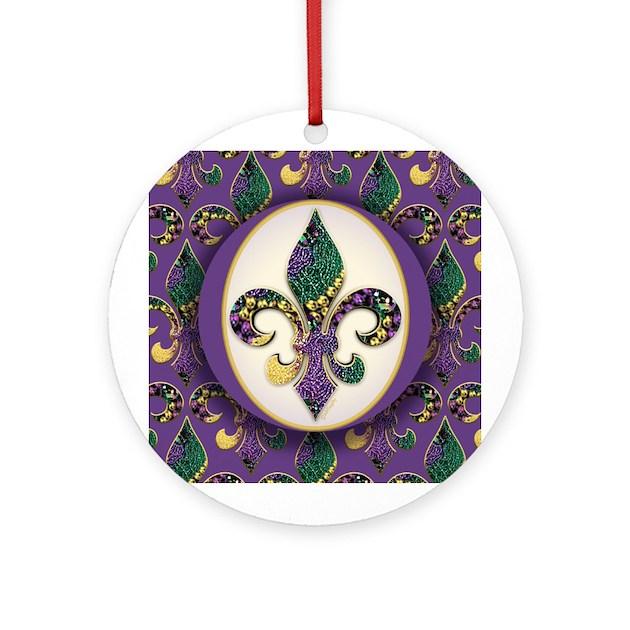 Fleur De Lis Mardi Gras Beads Ornament Round By Artegrity