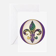 Fleur de lis Mardi Gras Beads Greeting Cards (Pack