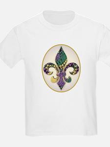 Fleur de lis Mardi Gras Beads Kids T-Shirt