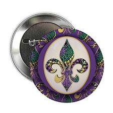 "Fleur de lis Mardi Gras Beads 2.25"" Button (10 pac"