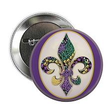 """Fleur de lis Mardi Gras Beads 2.25"""" Button (100 pa"""