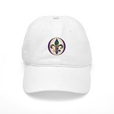 Fleur de lis Mardi Gras Beads Baseball Cap