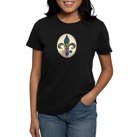 Fleur de lis Mardi Gras Beads Women's Dark T-Shirt