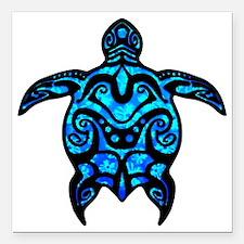 "Black Tribal Turtle Square Car Magnet 3"" x 3"""