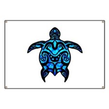 Black Tribal Turtle Banner