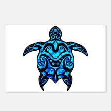 Black Tribal Turtle Postcards (Package of 8)
