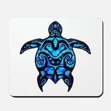 Black Tribal Turtle Mousepad