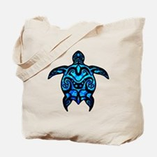 Black Tribal Turtle Tote Bag