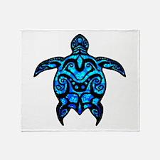Black Tribal Turtle Throw Blanket