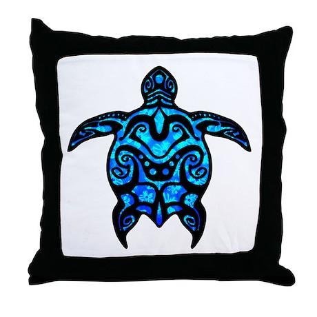 Black Tribal Throw Pillow : Black Tribal Turtle Throw Pillow by BailoutIsland
