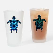 Black Tribal Turtle Drinking Glass