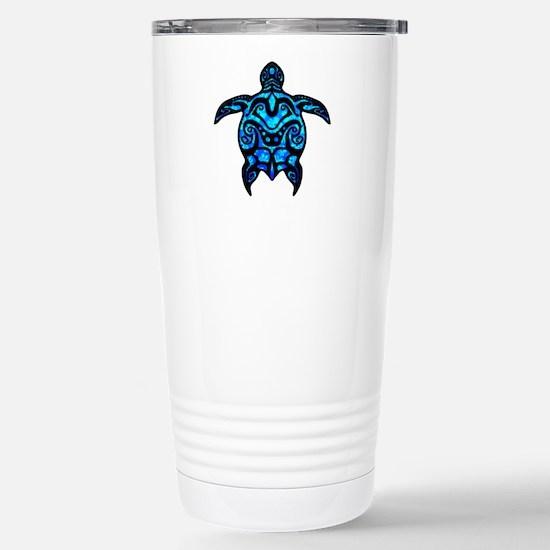 Black Tribal Turtle Travel Mug