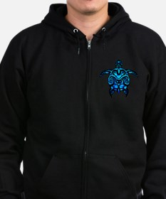 Black Tribal Turtle Zip Hoodie