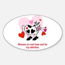 Valentine Cow Oval Decal
