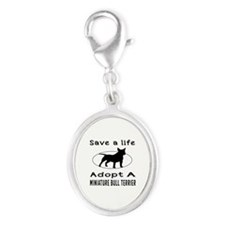 Adopt A Miniature Bull Terrier Dog Silver Oval Cha