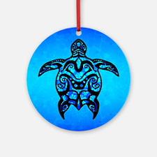 Black Blue Tribal Turtle Ornament (Round)