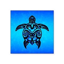Black Blue Tribal Turtle Sticker