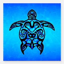 "Black Blue Tribal Turtle Square Car Magnet 3"" x 3"""