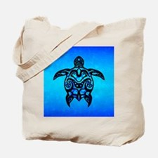 Black Blue Tribal Turtle Tote Bag