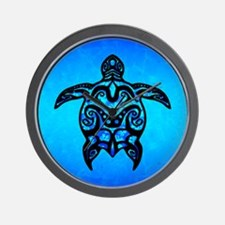 Black Blue Tribal Turtle Wall Clock