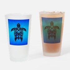 Black Blue Tribal Turtle Drinking Glass