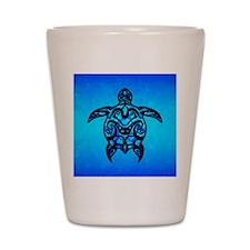 Black Blue Tribal Turtle Shot Glass