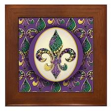 Fleur de lis Mardi Gras Beads Framed Tile