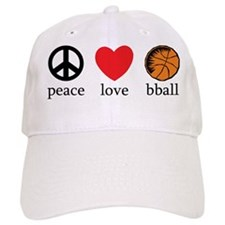 Peace Love bball Baseball Cap