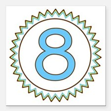 """Number 8 Blue Yellow Bro Square Car Magnet 3"""" x 3"""""""