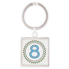 Number 8 Blue Yellow Brown Zig Zag Square Keychain