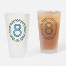 Number 8 Blue Yellow Brown Zig Zag Drinking Glass