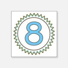 """Number 8 Blue Yellow Brown  Square Sticker 3"""" x 3"""""""