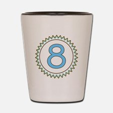 Number 8 Blue Yellow Brown Zig Zag Shot Glass