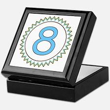 Number 8 Blue Yellow Brown Zig Zag Keepsake Box