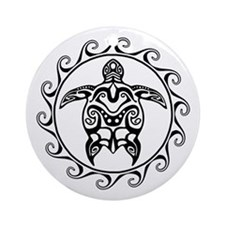 Black Tribal Turtle Sun Ornament (Round)