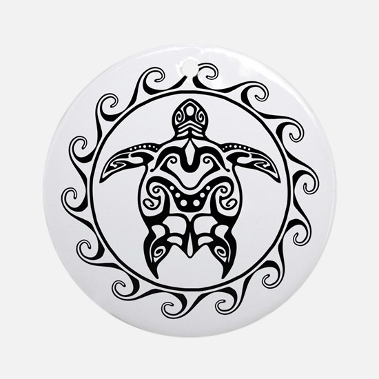 Black Tribal Turtle Sun Ornament (Round)